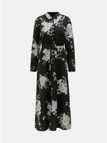 Černé květované košilové maxišaty VERO MODA Mikka