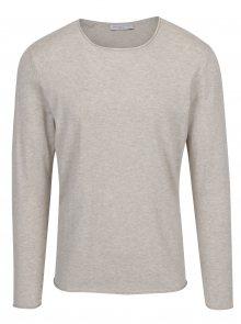 Béžový žíhaný svetr s příměsí hedvábí Selected Homme Dome