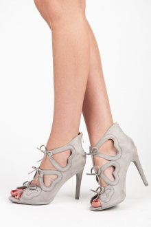 Dámské šedé semišové kotníkové sandály s mašličkami