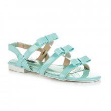 Lakované modré sandály s mašličkami