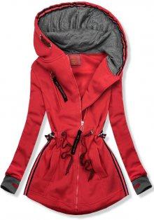 Červeno/grafitová mikina s kapucí