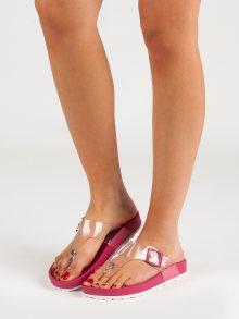 Pohodlné dámské růžové  nazouváky bez podpatku