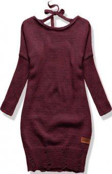 Bordó pletený svetr se zavazováním