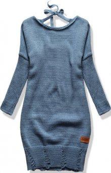 Jeans modrý pletený svetr se zavazováním