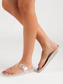 Výborné dámské  nazouváky šedo-stříbrné bez podpatku