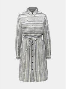 Světle šedé pruhované košilové šaty VILA Navida