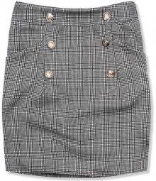 Šedo-černá károvaná sukně