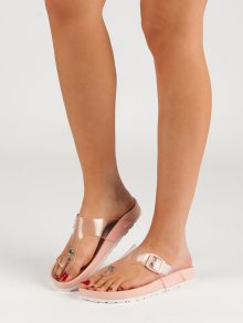 Pěkné růžové  nazouváky dámské bez podpatku