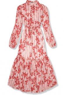 Midi šaty s motivem listů červená/růžová