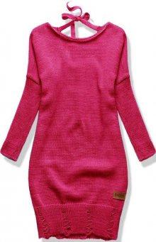 Fuchsiový pletený svetr se zavazováním