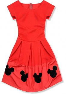 Červené šaty s Mickey potiskem