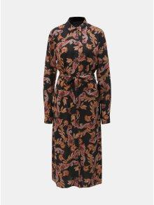 Černé vzorované košilové maxišaty Dorothy Perkins Tall