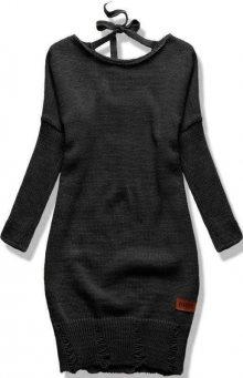 Černý pletený svetr se zavazováním
