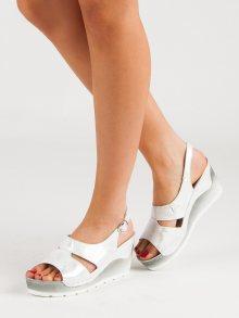 Designové dámské  sandály šedo-stříbrné na klínku