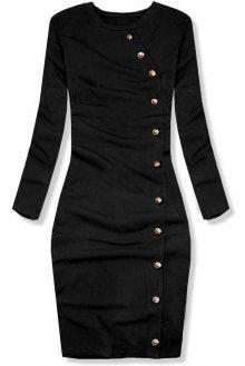 Černé strečové šaty s dekorativními knoflíky