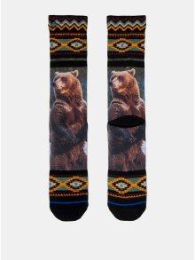Zeleno-černé pánské ponožky s motivem medvěda XPOOOS
