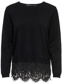 ONLY Dámský svetr Cilla L/S Lace Mix Pullover Knit Black W.Dtm Lace XS
