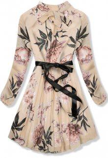Béžové květinové šaty se stuhou