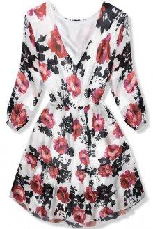 Bílo-černé šaty s motivem růží