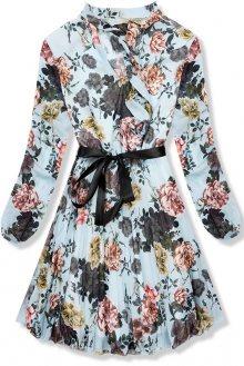 Modré květinové šaty se skládanou sukní
