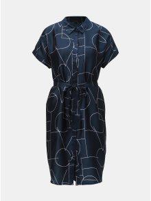 Tmavě modré vzorované košilové šaty VERO MODA Love