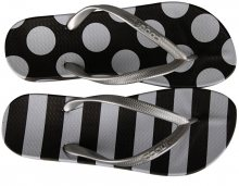 Coqui Dámské žabky Kaja Printed Black/White Dots And Stripes 1327-215-2299 36