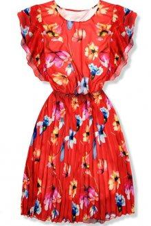 Červené květinové šaty s volány na ramenou