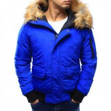 Pánská bunda zimní s kapucí světle modrá