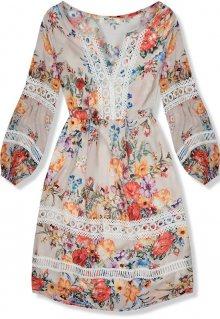 Béžové lehké letní šaty s krajkou