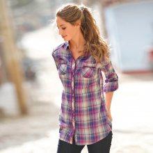 Blancheporte Košile s potiskem, kostkovaná fialová/béžová 52