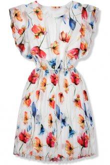 Bílé květinové šaty s volány na ramenou