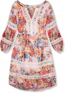 Pudrové lehké letní šaty s krajkou