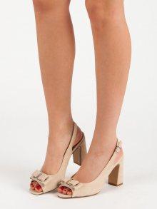 Zajímavé dámské hnědé  sandály na širokém podpatku