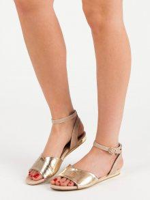 Módní zlaté  sandály dámské bez podpatku