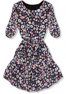 Černo-fialové květinové šaty