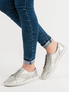 Klasické dámské  polobotky šedo-stříbrné bez podpatku