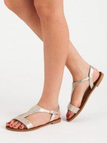 Moderní zlaté dámské  sandály bez podpatku
