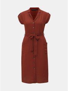 Cihlové košilové šaty Dorothy Perkins