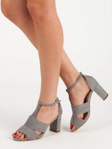 Moderní dámské šedo-stříbrné  sandály na širokém podpatku