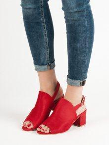 Originální  sandály dámské červené na širokém podpatku