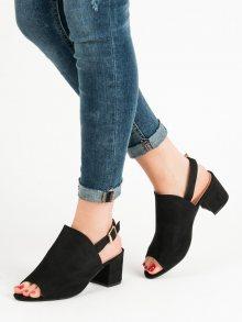 Originální  sandály černé dámské na širokém podpatku