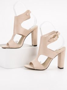 Stylové dámské hnědé  sandály na širokém podpatku