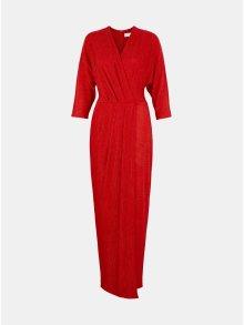 Červené třpytivé pruhované maxišaty Closet