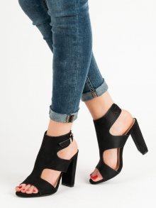 Módní  sandály černé dámské na širokém podpatku