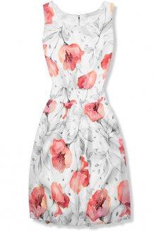 Bílé elegantní šaty s květinovým vzorem