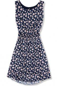 Lehké letní šaty s květinovým potiskem tmavě modré