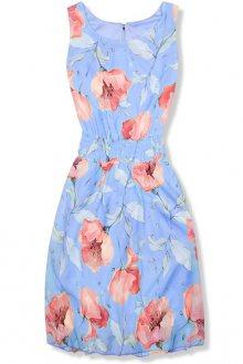 Světle modré elegantní šaty s květinovým vzorem