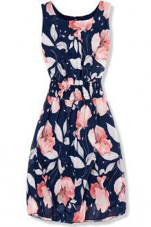 Tmavě modré elegantní šaty s květinovým vzorem
