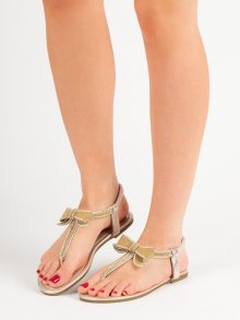 Praktické dámské zlaté  sandály bez podpatku