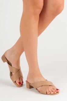 Módní hnědé  nazouváky dámské na plochém podpatku